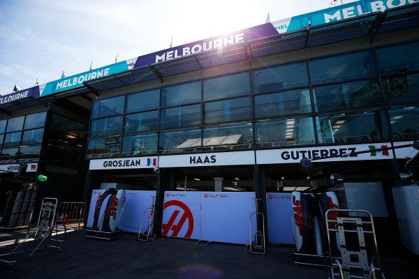 Albert Park, Melbourne, Australia. Wednesday 16 March 2016. The Haas F1 garage World Copyright: Andrew Hone/LAT Photographic. ref: Digital Image _ONZ9776