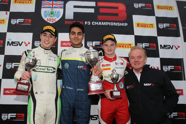 2017 BRDC British F3 Championship, Donington Park, Leicestershire. 23rd - 24th September 2017. James Pull (GBR) Carlin BRDC F3, Enaam Ahmed (GBR) Carlin BRDC F3, Ben Hingeley (GBR) Fortec Motorsports BRDC F3,  World Copyright: JEP/LAT Images
