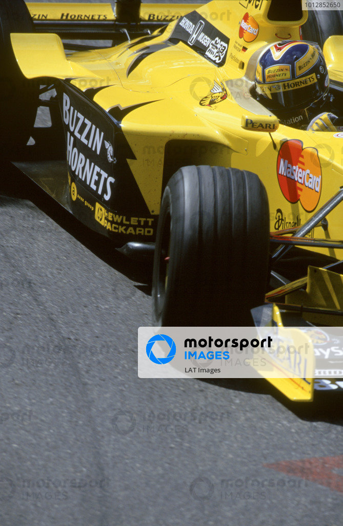 1999 Formula One Championship.Belgian Grand Prix,Spa - Francorchamps, Belgium. 27th - 29th AugustHeinz Harald Frentzen (Jordan Mugen Honda). Action. World Copyright:Gavin Lawrence/LAT Photographic.Ref:35mm Image 99 BEL 12