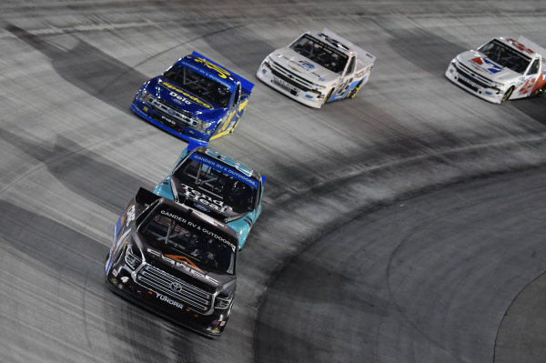 #4: Raphael Lessard, Kyle Busch Motorsports, Toyota Tundra Canac, #99: Ben Rhodes, ThorSport Racing, Ford F-150 Tenda Heal, #38: Todd Gilliland, Front Row Motorsports, Ford F-150 Speedco