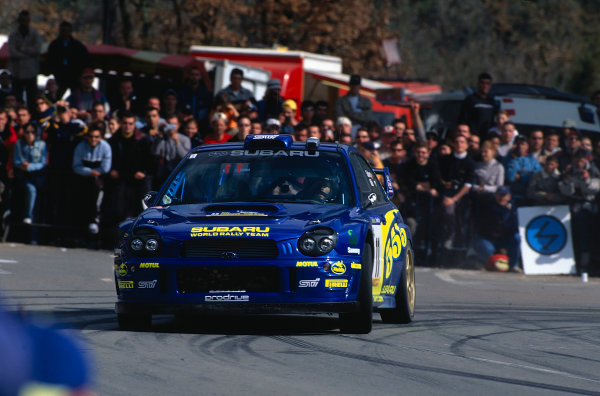 2002 World Rally ChampionshipRally Catalunya, Spain. 21st - 24th March 2002.Petter Solberg / Mills, 5th position overall, Subaru Impreza WRC, action.World Copyright: McKlein/LAT Photographic.ref: 35mm Image 02 WRC 07