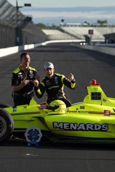 Simon Pagenaud and crew Team Penske Chevrolet NTT P1 award and pole winner, front row