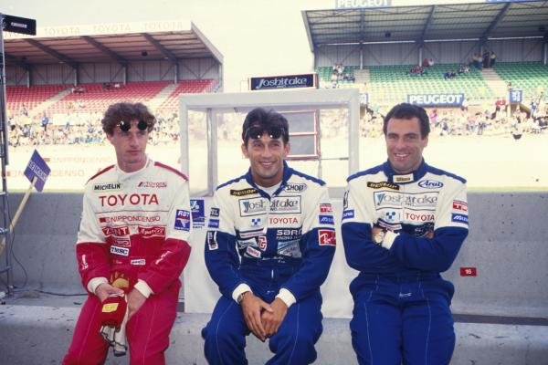 L-R: Eddie Irvine(GBR), Mauro Martini (ITA), Roland Ratzenberger(AUT) Toyota 92CVLe Mans 24 Hour Race, La Sarthe 19-20 June 1993