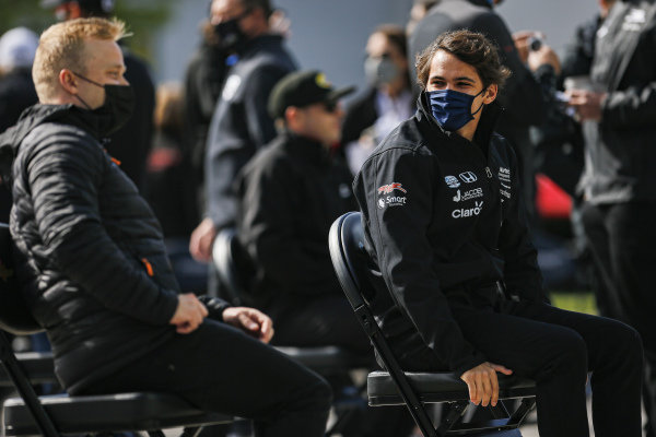 #51: Pietro Fittipaldi, Dale Coyne Racing with RWR Honda and #7: Felix Rosenqvist, Arrow McLaren SP Chevrolet at the driver's meeting