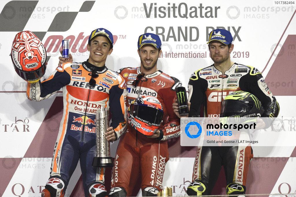 Podium: second place Marc Marquez, Repsol Honda Team, Race winner Andrea Dovizioso, Ducati Team, third place Cal Crutchlow, Team LCR Honda.