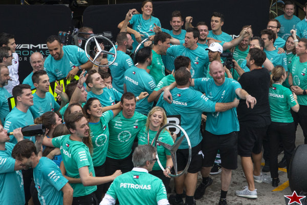 Lewis Hamilton, Mercedes AMG F1 and Mercedes-AMG F1 celebrate winning the Constructors Championship