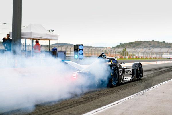 Stoffel Vandoorne (BEL), Mercedes Benz EQ Formula, EQ Silver Arrow 01, at the end of the pit lane doing a burn out