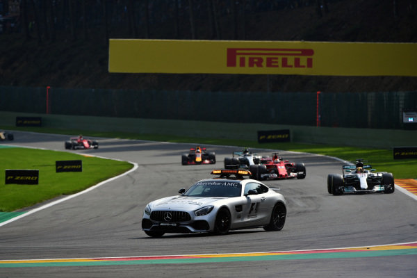 Safety car leads the field at Formula One World Championship, Rd12, Belgian Grand Prix, Race, Spa Francorchamps, Belgium, Sunday 27 August 2017.