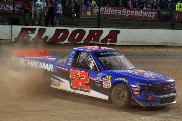 #52: Stewart Friesen, Halmar Friesen Racing, Chevrolet Silverado Halmar International celebrates his win with a burnout