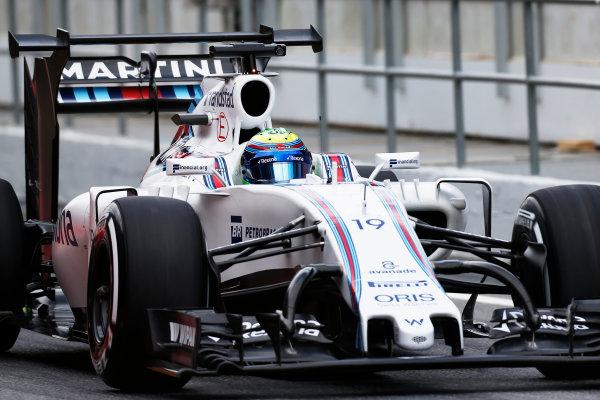 Circuit de Catalunya, Barcelona, Spain.  Wednesday 18 May 2016.  Felipe Massa, Williams FW38 Mercedes, with development rear wing and aero parts.  World Copyright: Sam Bloxham/LAT Photographic ref: Digital Image _R6T1937