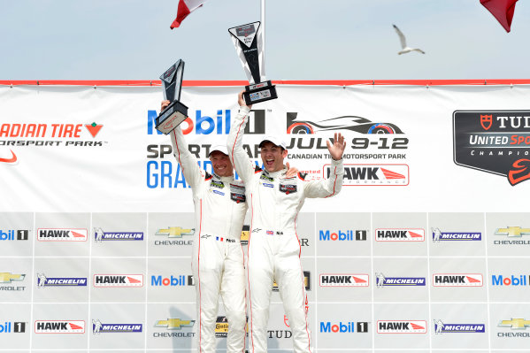 10-12 July 2015, Bowmanville, Ontario Canada 911, Porsche, 911 RSR, GTLM, Nick Tandy, Patrick Pilet on the podium in victory lane ?2015 Scott R LePage  LAT Photo USA