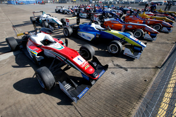 FIA F3 European Championship - Round 1, Race 3. Silverstone, Northamptonshire, UK 10th - 12th April 2015 Parc ferme, 1 Felix Rosenqvist (SWE, Prema Powerteam, Dallara F312 – Mercedes-Benz), 8 Alessio Lorandi (ITA, Van Amersfoort Racing, Dallara F312 – Volkswagen). Copyright Free FOR EDITORIAL USE ONLY. Mandatory Credit: FIA F3. ref: Digital Image FIAF3-1428842394