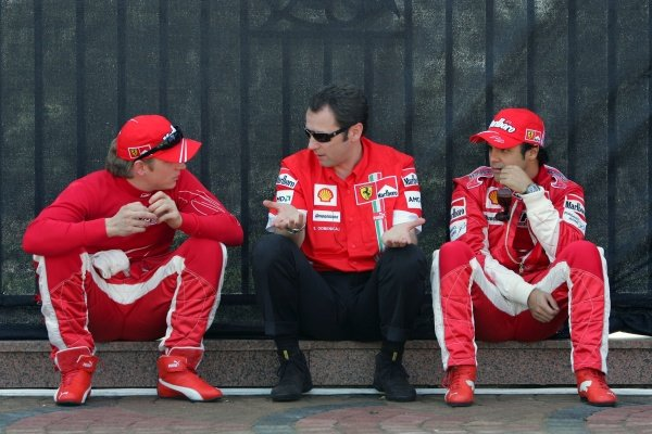 (L-R): Kimi Raikkonen (FIN) Ferrari, Stefano Domenicali (ITA) Ferrari and Felipe Massa (BRA) Ferrari. Abu Dhabi to host Formula One Grand Prix in 2009, Abu Dhabi, United Arab Emirates, 3 February 2007. DIGITAL IMAGE