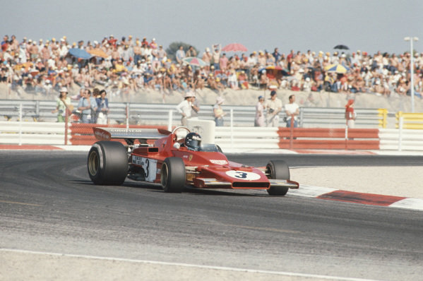 1973 French Grand Prix.  Paul Ricard, Le Castellet, France. 29th June - 1st July 1973.  Jacky Ickx, Ferrari 312B3, sideways on his way to 5th position.  Ref: 73FRA70. World Copyright: LAT Photographic