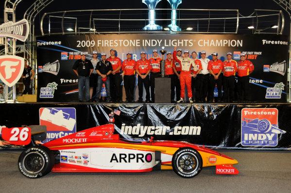 8-9 October, 2009, Homestead, Florida USAIndy Lights Champion J R. Hildebrand celebrates his Indy Lights Championship with his team.©2009, Paul Webb, USALAT Photographic