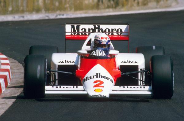 Monte Carlo, Monaco.16-19 May 1985.Alain Prost (McLaren MP4/2B TAG Porsche) 1st position.Ref-85 MON 15.World Copyright - LAT Photographic