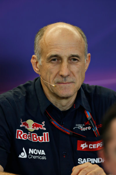Circuit of the Americas, Austin, Texas, United States of America.  Friday 23 October 2015. Franz Tost, Team Principal, Toro Rosso, in the Team Principal Press Conference. World Copyright: Andrew Ferraro/LAT Photographic ref: Digital Image _FER6359