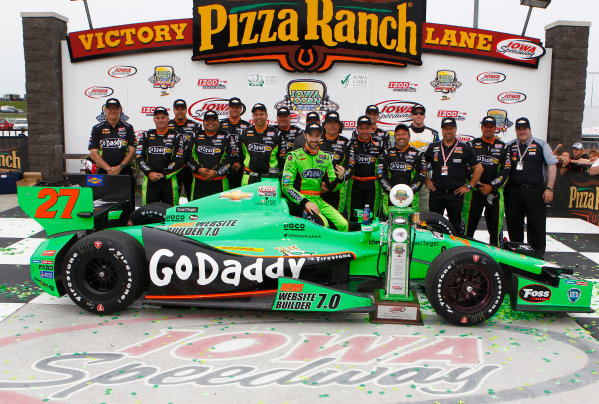 22-23 June, 2013, Newton, Iowa USA James Hinchcliffe celebrates with his team in victory lane ©2013, Phillip Abbott LAT Photo USA