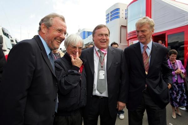 (L to R): Richard Caborn (GBR) MP; Bernie Ecclestone (GBR) F1 Supremo; John Prescott (GBR), Deputy Prime Minister; Max Mosley (GBR) FIA President.Formula One World Championship, British Grand Prix, Rd 11, Race Day, Silverstone, England, 11 July 2004. DIGITAL IMAGE