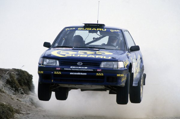 1993 World Rally Championship.Portuguese Rally, Portugal. 3-6 March 1993.Colin McRae/Derek Ringer (Subaru Legacy RS), 7th position.World Copyright: LAT PhotographicRef: 35mm transparency 93RALLY19