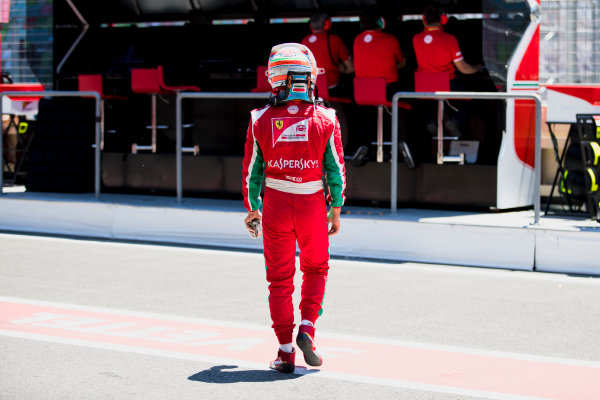 2017 FIA Formula 2 Round 4. Baku City Circuit, Baku, Azerbaijan. Saturday 24 June 2017. Antonio Fuoco (ITA, PREMA Racing) in the pitlane after retiring. Photo: Zak Mauger/FIA Formula 2. ref: Digital Image _56I7658