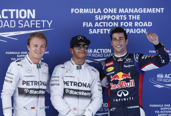 Circuit de Catalunya, Barcelona, Spain. Saturday 10 May 2014. Top three qualifiers, Lewis Hamilton, Mercedes AMG, Nico Rosberg, Mercedes AMG, and Daniel Ricciardo, Red Bull Racing. World Copyright: Charles Coates/LAT Photographic. ref: Digital Image _J5R1980