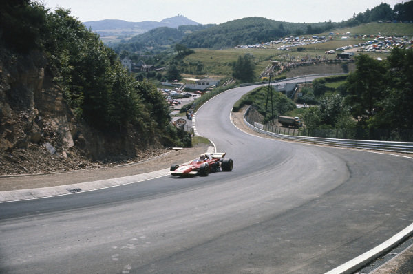 1971 German Grand Prix.  Nurburgring, Germany. 30th July - 1st August 1971.  Clay Regazzoni, Ferrari 312B2, 3rd position, at Ex-Muhle.  Ref: 71GER10. World Copyright: LAT Photographic