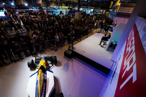 Autosport International Exhibition. National Exhibition Centre, Birmingham, UK. Sunday 15 January 2017. Jacques Villeneuve is interviewed on the Autosport stage Photo: Sam Bloxham/LAT Photographic ref: Digital Image _SLB5135