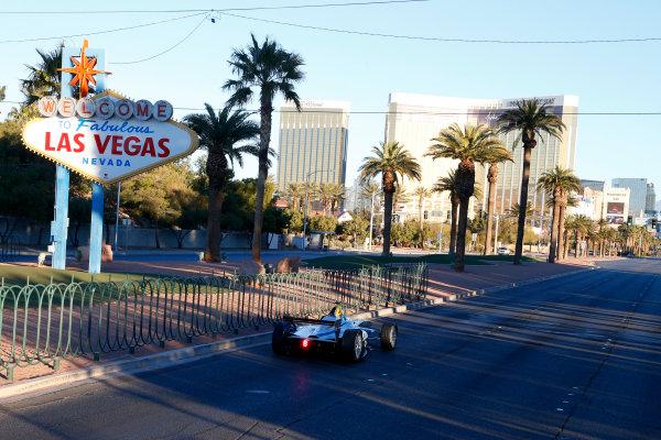5-6 January, 2014, Las Vegas, Nevada USA Former F1 driver Lucas di Grassi drives the new Spark-Renault SRT_01E Formula E car down the Las Vegas strip ©2014, Lesley Ann Miller LAT Photo USA