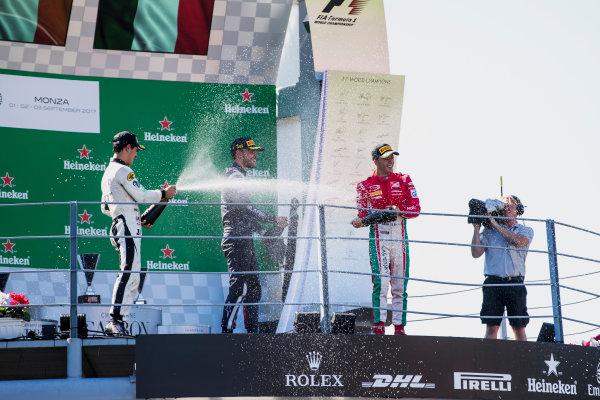 2017 FIA Formula 2 Round 9. Autodromo Nazionale di Monza, Monza, Italy. Sunday 3 September 2017. Sergio Sette Camara (BRA, MP Motorsport), Luca Ghiotto (ITA, RUSSIAN TIME), Antonio Fuoco (ITA, PREMA Racing).  Photo: Zak Mauger/FIA Formula 2. ref: Digital Image _56I9237