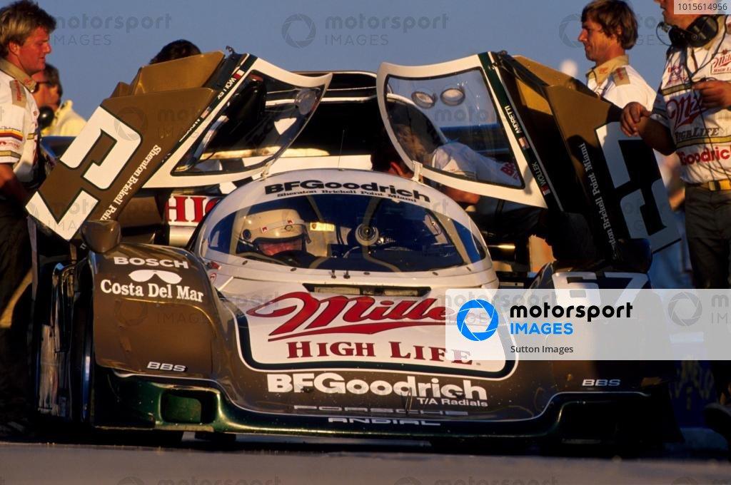 Winner Bob Wollek(FRA) driving Porsche 962 with Derek Bell and John Andretti Daytona 24 hrs 1989