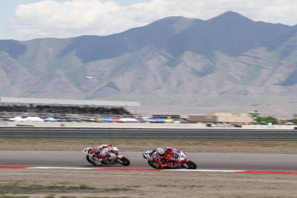 28 May 2012, Miller Motorsports Park, Tooele, Utah USAJonathan Rea, Honda World Superbike Team, Carlos Checa, Althea Racing World Copyright: Covy Moore/LAT Photographic