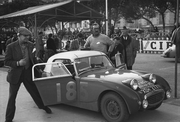1959 Monte Carlo Rally. Monte Carlo Monaco. 16th - 25th January 1959. Tommy Wisdom / Douglas Johns (Austin-Healey Sprite), 5th in Class, 63rd overall. World Copyright: LAT Photographic.  Ref:  8148A - 30.