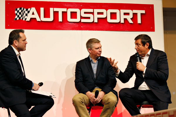 Autosport International Exhibition.  National Exhibition Centre, Birmingham, UK. Thursday 14 January 2016.  World Endurance Championship boss Gerard Neveu and Silverstone's Patrick Allen talk to Henry Hope-Frost on the Autosport stage. World Copyright: Sam Bloxham/LAT Photographic. ref: Digital Image _SBL5578