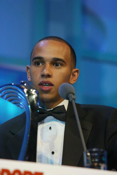 2003 AUTOSPORT AWARDS, The Grosvenor, London. 7th December 2003. Lewis Hamilton, winner of Club Driver award. Photo: Peter Spinney/LAT Photographic Ref: Digital Image only