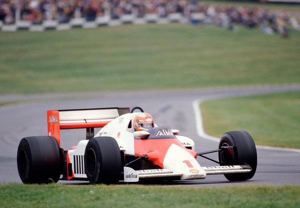 1985 European Grand Prix.Brands Hatch, England.4-6 October 1985.John Watson (McLaren MP4/2B TAG Porsche) 7th position.  Ref: 85EUR44. World Copyright - LAT Photographic
