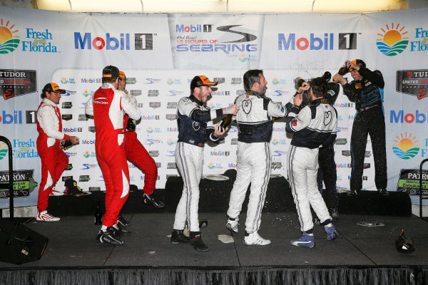 19-21 March, 2015, Sebring, Florida, USA GTD podium, 63, Ferrari, 458 Italia, GTD, Bill Sweedler, Townsend Bell, Anthony Lazzaro,23, Porsche, 911 GT America, GTD, Ian James, Mario Farnbacher, Alex Riberas, 007, Aston Martin, V12 Vantage, GTD, James Davison, Christina Nielsen,  ©2015, Michael L. Levitt LAT Photo USA