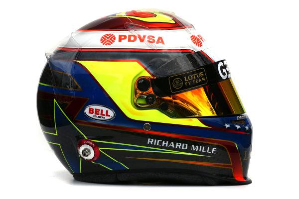 Albert Park, Melbourne, Australia. Helmet of Pastor Maldonado, Lotus F1.  Thursday 12 March 2015. World Copyright: LAT Photographic. ref: Digital Image 2015_Helmet_028