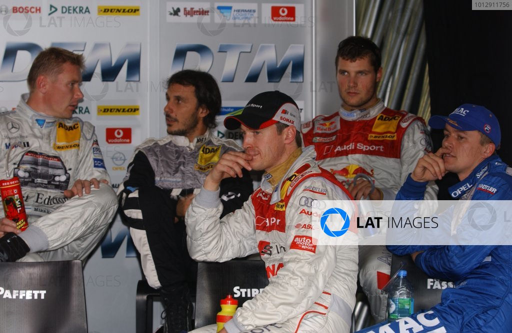 2005 DTM ChampionshipHockenheim, Germany. 21st - 23rd October 2005.Mika Hakkinen (AMG-Mercedes C-Klasse), Laurent Aiello (Opel Vectra GTS V8), Martin Tomczyk (Abt Sportsline Audi A4), Marcel Fassler (Opel Vecrta GTS V8) and Frank Stippler (Joest Racing Audi A4) in the driver's briefing.World Copyright: Andre Irlmeier/LAT Photographicref: Digital Image Only