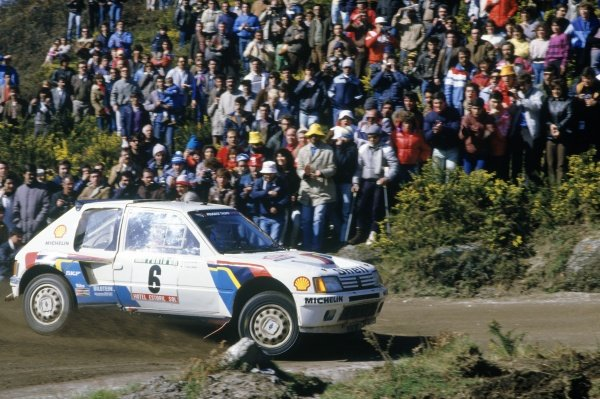 1985 World Rally Championship.Portuguese Rally, Portugal. 6-9 March 1985.Timo Salonen/Seppo Harjanne (Peugeot 205 Turbo 16), 1st position.World Copyright: LAT PhotographicRef: 35mm transparency 85RALLY03