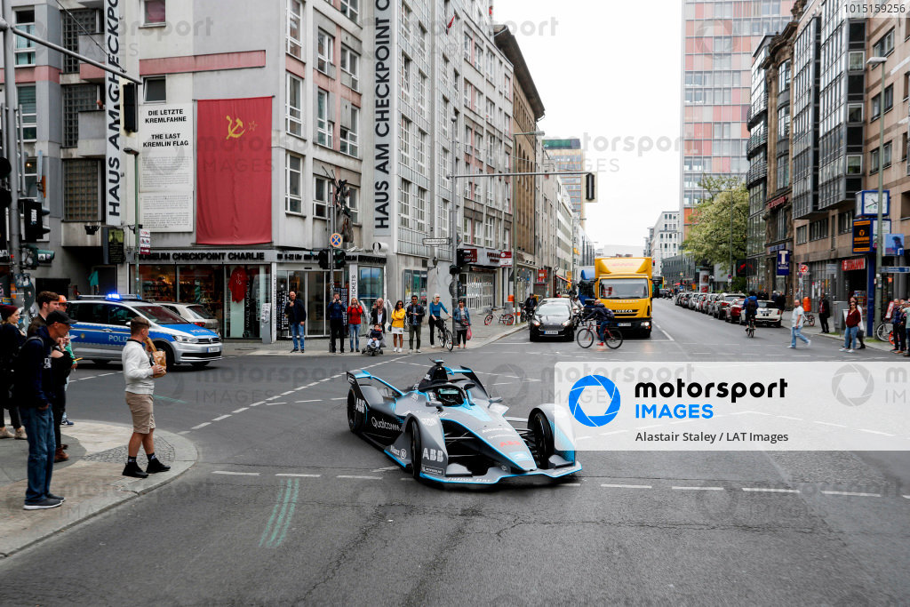 Formula 1 World Champion, Nico Rosberg, drives the Formula E Gen2 car around the streets of Berlin.
