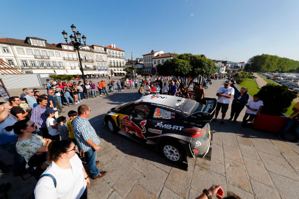 Crowds flock to see the cars wherever they can on Rally Portugal, this is the famous Ponte De Lima location