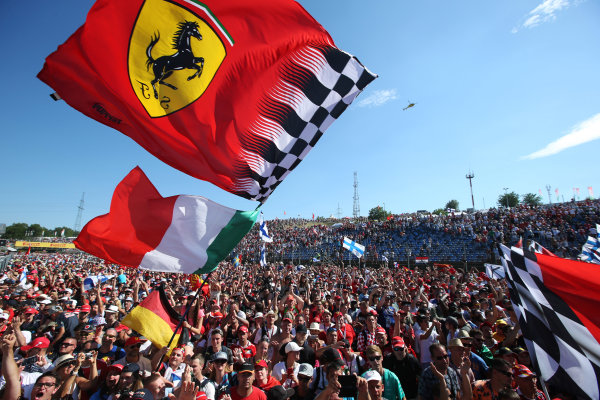 Hungaroring, Budapest, Hungary.  Sunday 30 July 2017. Ferrari fans celebrate after the race. World Copyright: Coates/LAT Images  ref: Digital Image AN7T9797
