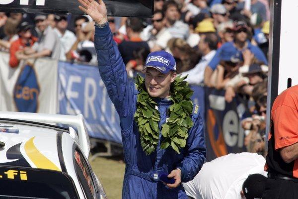 2006 FIA World Rally Champs. Round 6Rally Australia 26-29 October 2006Jari-Matti Latvala, Subaru GpN, podiumWorld Copyright: McKlein/LAT