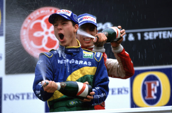 2001 F3000 ChampionshipSpa-Francorchamps, Belgium. 1st September 2001.Justin Wilson (Nordic), finished in 2nd place, clinching the 2001 F3000 title, with race winner Ricardo Sperafico (Petrbras Jnr), podium.World Copyright: Clive Rose/LAT Photographicref: 35mm Image A01