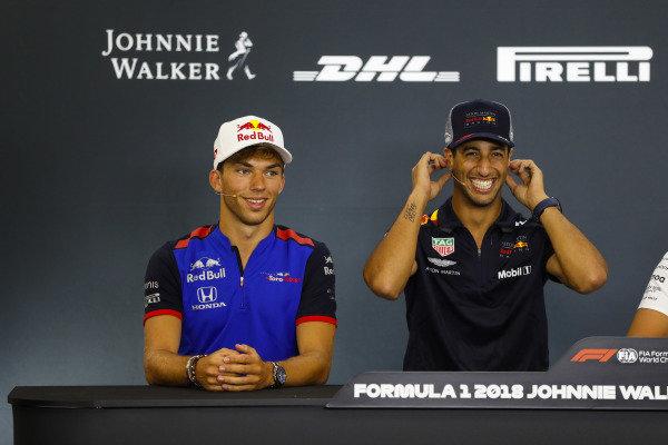 Pierre Gasly, Toro Rosso, and Daniel Ricciardo, Red Bull Racing, joke in the Thursday press conference.