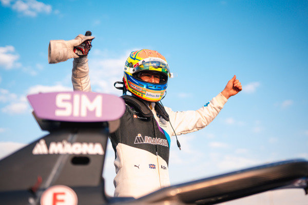 Race winner Alexander Sims (GBR) BMW I Andretti Motorsports celebrates on the podium