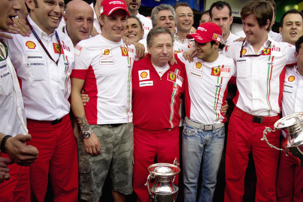 Ferrari team group photo, principal Jean Todt with drivers Kimi Räikkonen and Felipe Massa, race engineer Rob Smedley and Stefano Domenicalli.