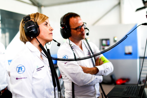 Susie Wolff, Team Principal, Venturi Formula E, watches practice from the garage