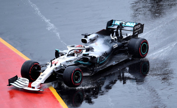 Lewis Hamilton, Mercedes AMG F1 W10, crashes his car but manages to continue on his way